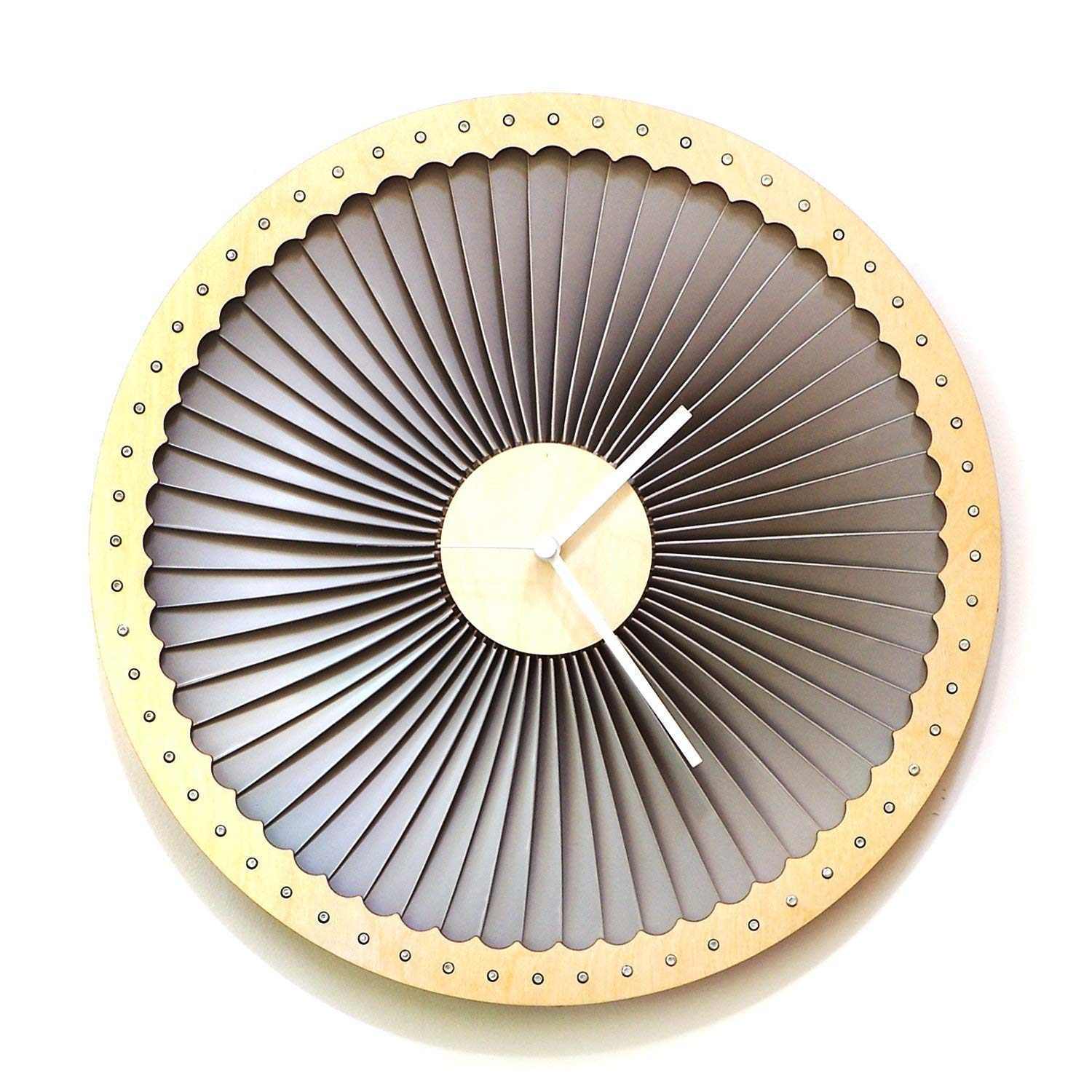 Turbine - 41cm (16) wood + plastic wall clock, contemporary wall art by ardeola