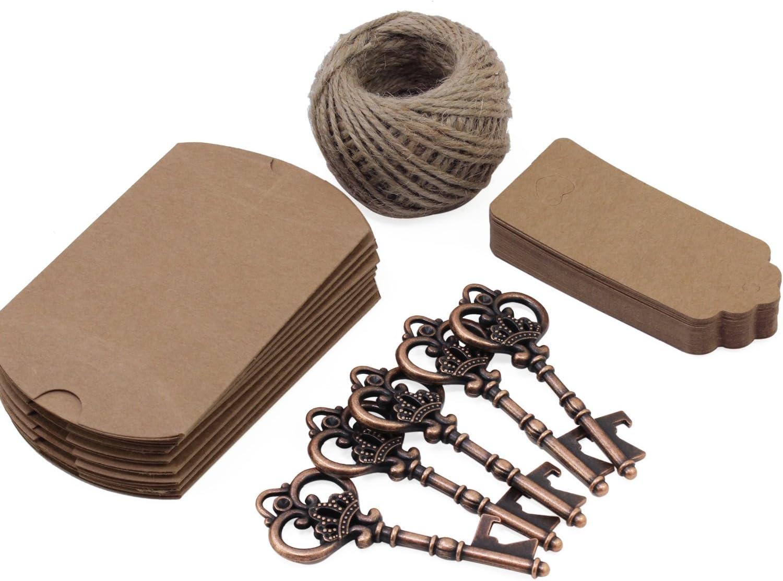TsunNee Apribottiglie chiave accessori per banchetto per feste 20 pezzi Apribottiglie a forma di chiave Nozze Vintage Apribottiglie con tag di cartone Scatole regalo