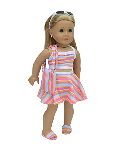 ea6bcc937 Image Unavailable. Image not available for. Color: 6 Piece Swimsuit Set  Fits 18 Inch Doll Clothes