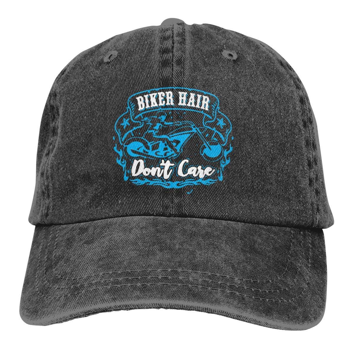 large-scale Biker Hair Don't Care Washed Denim Hat Adjustable Unisex Dad Baseball Caps