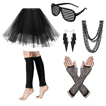 NEON TUTU GLOVES LEGWARMERS 1980S 80S FANCY DRESS COSTUME HEN NIGHT PARTY