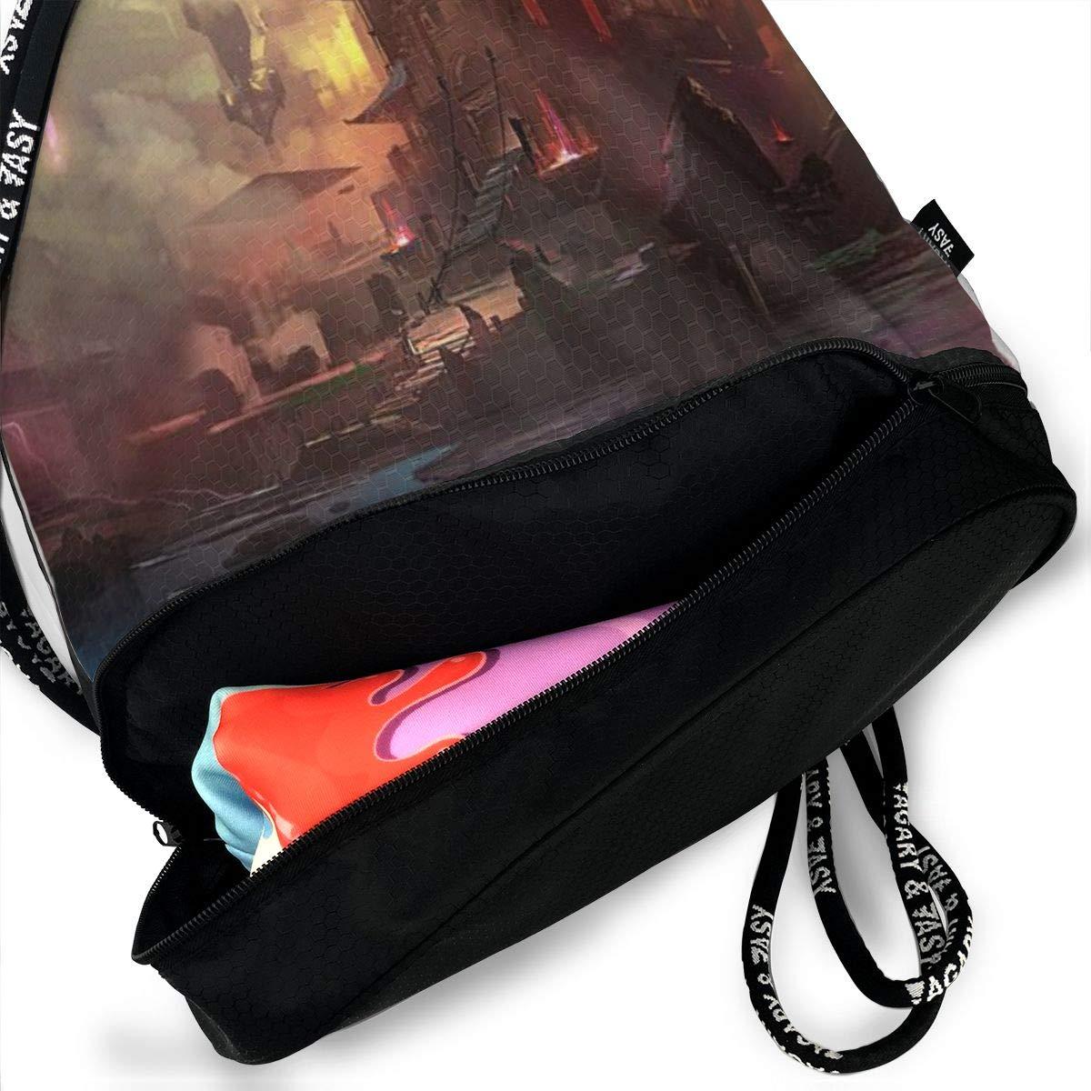 Castle Boat Printed Sackpack Sport Cinch Pack Backpack for Men Women Kji Gym Sack Drawstring Bag