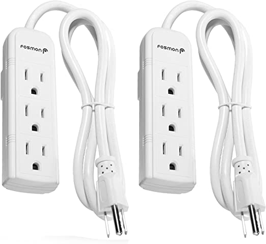2 AC 3 Outlet Mini Power Strip Grounded Home Wall Plug 8 inch Cord 1625 Watts