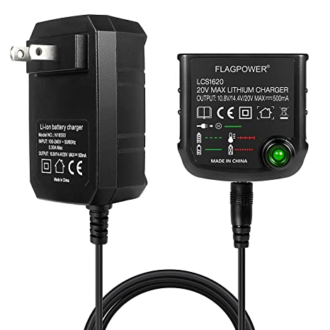 Amazon.com: FLAGPOWER Cargador de batería de litio de 20 V ...
