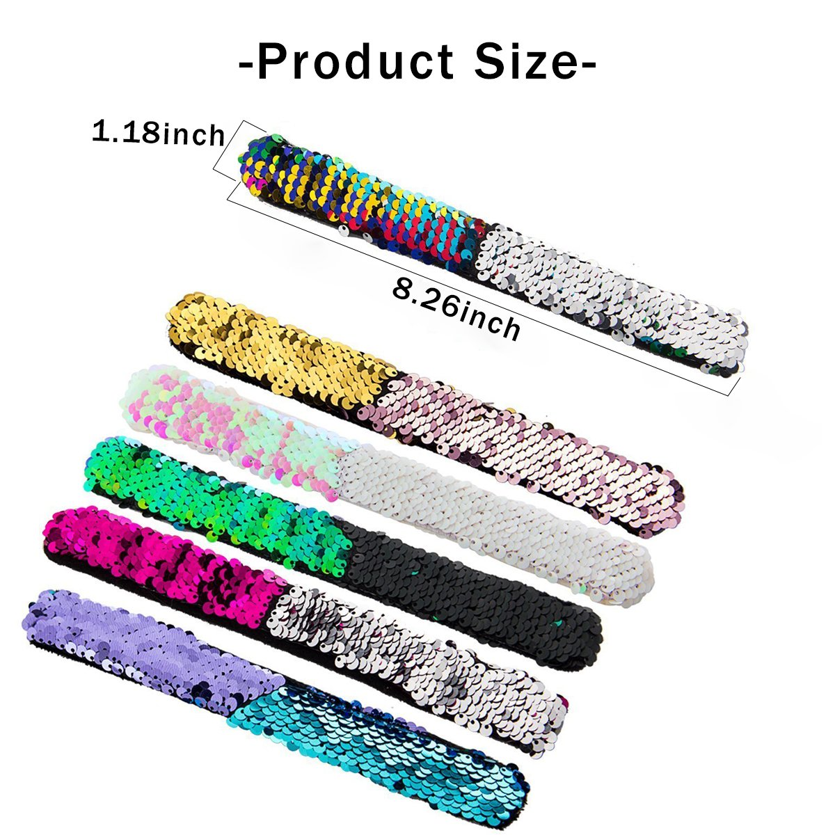 Slap Bracelets Sequin Assorted Reversible Mermaid Wristband for Party Festival (6 Packs)