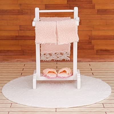 Odoria 1:12 Miniature Bath Accessory Rug and Stand with Towel Slippers Dollhouse Bathroom Accessories: Toys & Games [5Bkhe0704750]