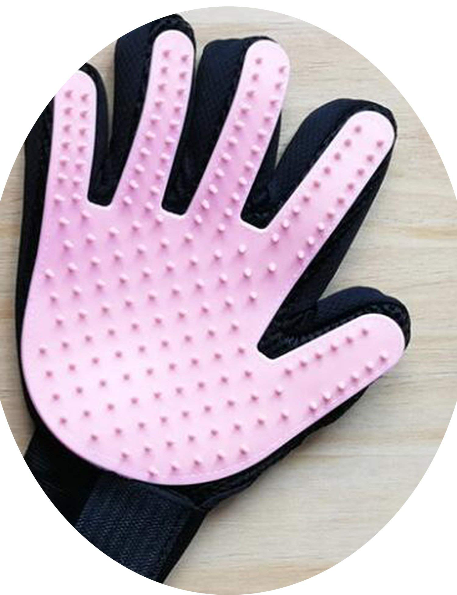 ZZmeet Pet Hair Glove Comb Pet Dog Cat Grooming Cleaning Glove Left Right Hand Hair Removal Brush Promote Blood Circulation 20pcs/lot,Pink Right Hand,L