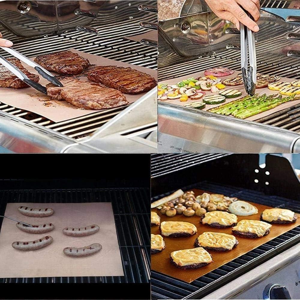 Plaque de cuisson en téflon réutilisable pour tapis de barbecue résistant à la température de barbecue pouroutils de tapis de gril en PTFE, cuivre, 2 pièces Black