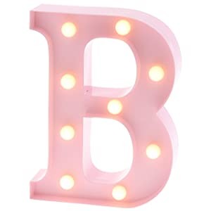 """Barnyard Designs Metal Marquee Letter B Light Up Wall Initial Nursery Letter, Home and Event Decoration 9"""" (Baby Pink)"""