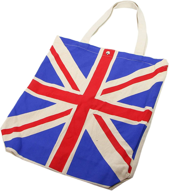 Large Cotton Canvas Tote Bag Handbags Shoulder Shopping Bags for Women Monrocco London British Flag Bag