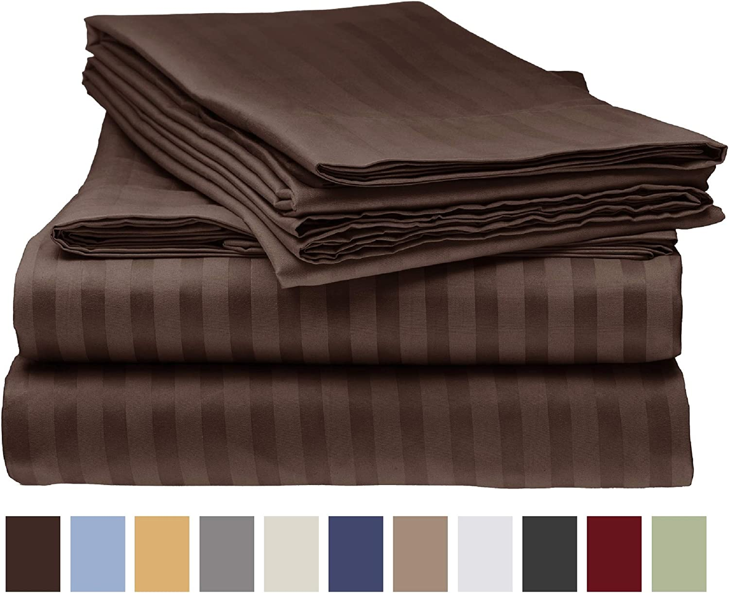 Deluxe 4pc Striped KING Bed Sheets Set CHOCOLATE