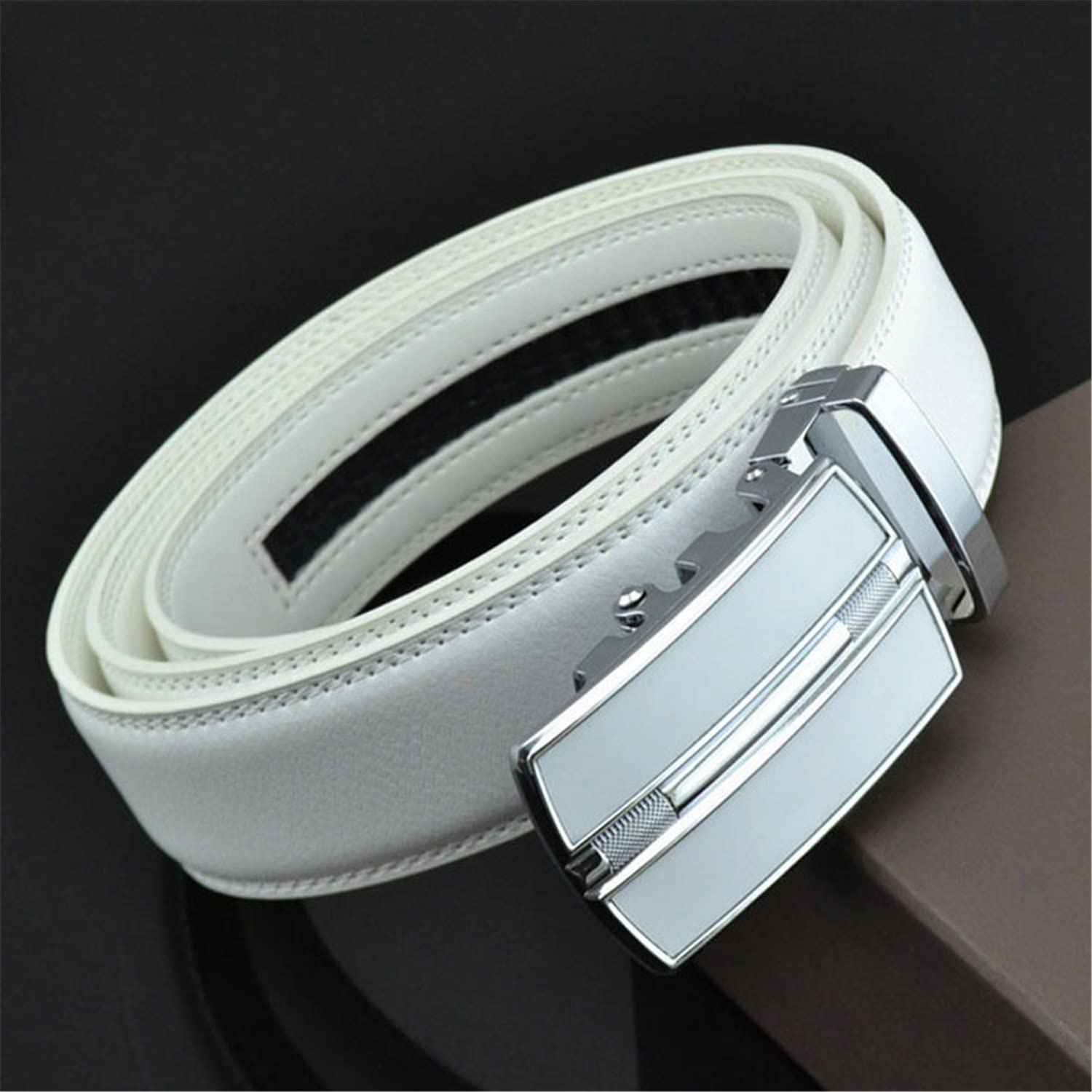Eric Hug?Fashion?Belt Designer Belts Men Fashion Geometric Metal Automatic Buckle Genuine Leather Luxury Brand Belt White
