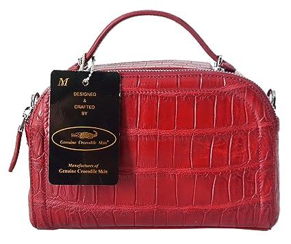 1f8ae3d49eb8 Amazon.com: Authentic M Crocodile Skin Womens Belly W/Strap Clutch ...