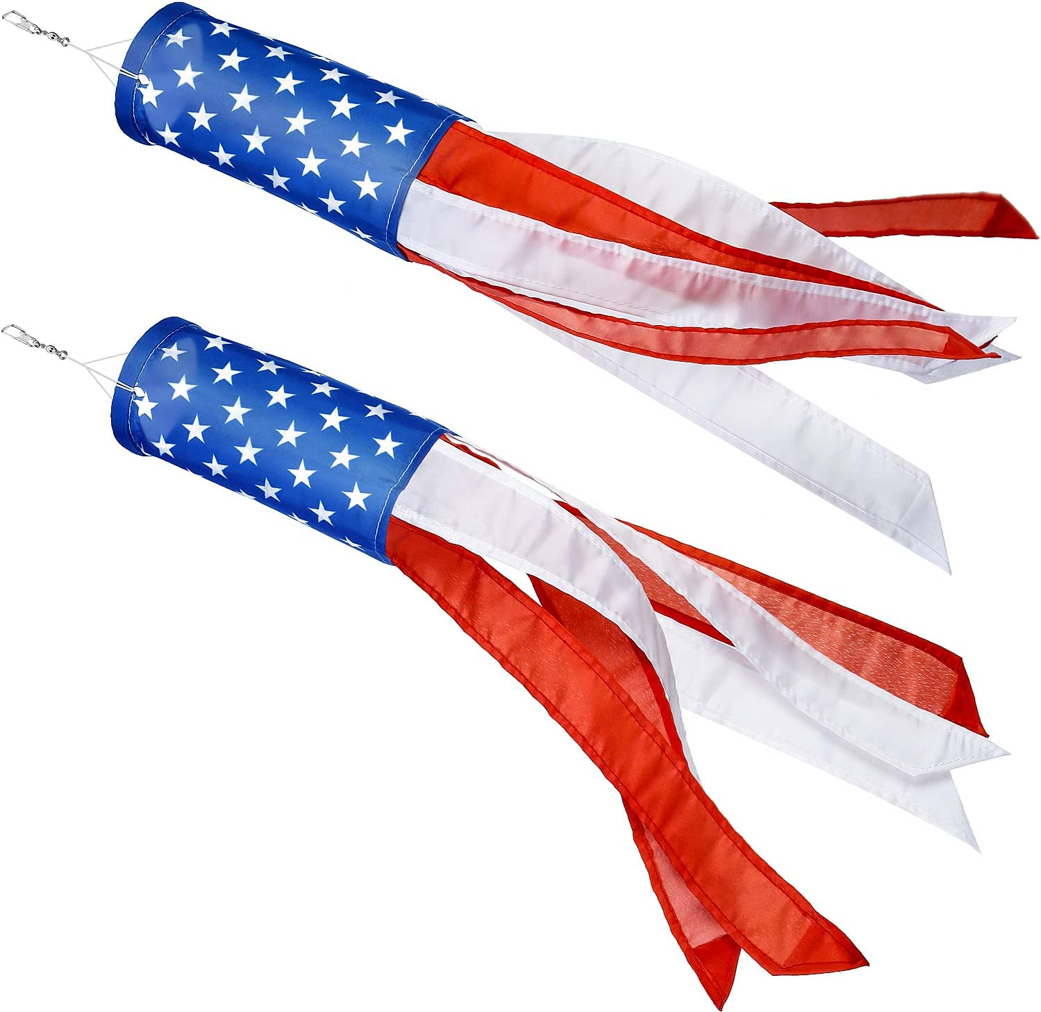 Boao 2 Pieces Windsock Colorful Hanging Decoration Windsock Waterproof Material for Outdoor Hanging(4 Inch, Stars and Stripes)