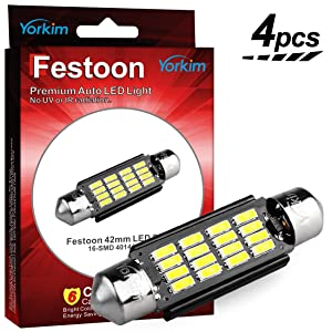 Yorkim 578 Festoon LED Bulb 41mm 42mm, 578 LED Bulb White Super Bright 41mm 42mm Canbus Error Free 16-SMD 4014 Chipset, 578 Dome Light Led, LED Interior Light MAP Light 211-2 212-2 LED Bulb, Pack of 4