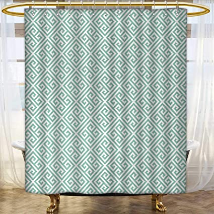 Greek Key Shower Curtain Customized Antique Labyrinth Motifs In Checkered Tile Composition Green And White Custom