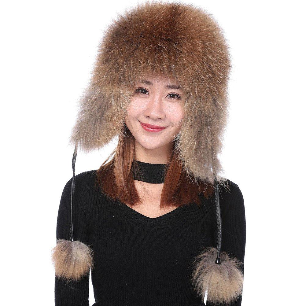 Valpeak Womens Winter Real Fox Fur Hat Genuine Leather Russian Trapper Ushanka Hats