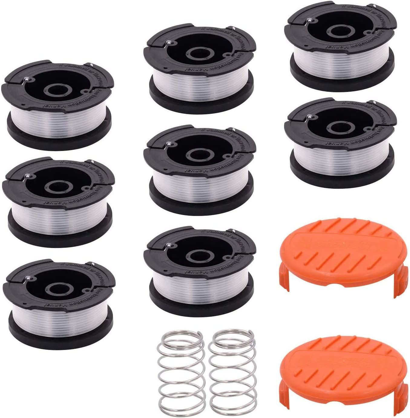 SOKOO Weed Eater Wacker besta510 Home Weed Eater Spool 065 Trimmer line Spool,30ft Autofeed Black and Decker Weed Eater String Spool Trimmer 12-Pack (8 Replacement Spool, 2Trimmer Cap, 2Spring)