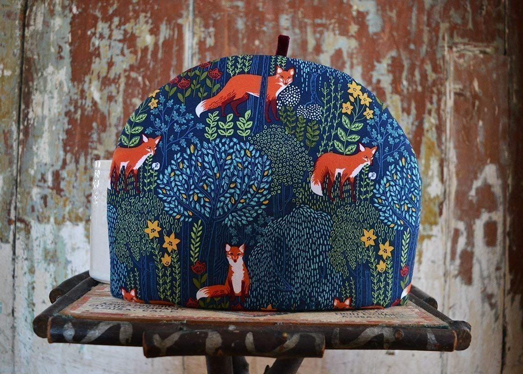 Red Foxes in a Forest Artisanal Luxe Tea Cozy - Rich Blue and Green Tones - 4 Sizes