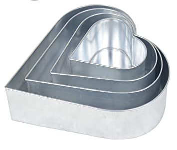 Euro Tins 4 moldes de tarta de cumpleaños aniversario de boda corazón latas: Amazon.es: Hogar