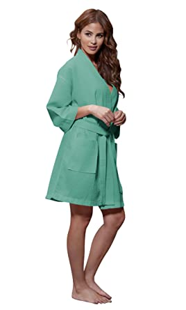 Turquaz Linen Lightweight Knee Length Waffle Kimono Bridesmaids Spa Robe  (Small Medium a3d840690