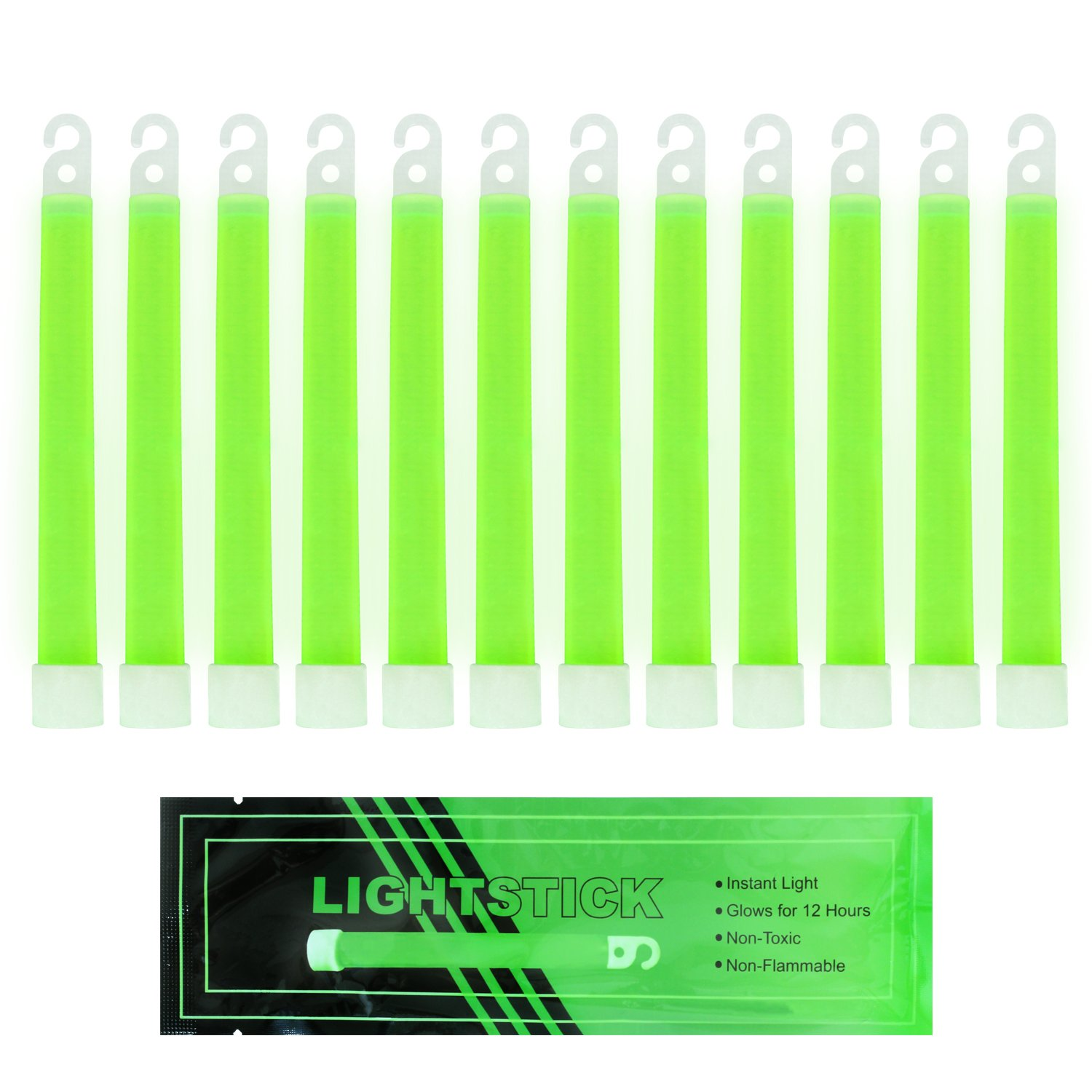MediTac Green Glow Stick - Bright 6'' Snap Sticks With 12 Hour Duration (12 Pack) by MediTac