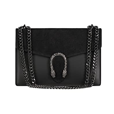 a1f83b2496aa RONDA Italian Baugette clutch mini wallet cross body bag with nickel chain  smooth stiff leather and suede: Handbags: Amazon.com