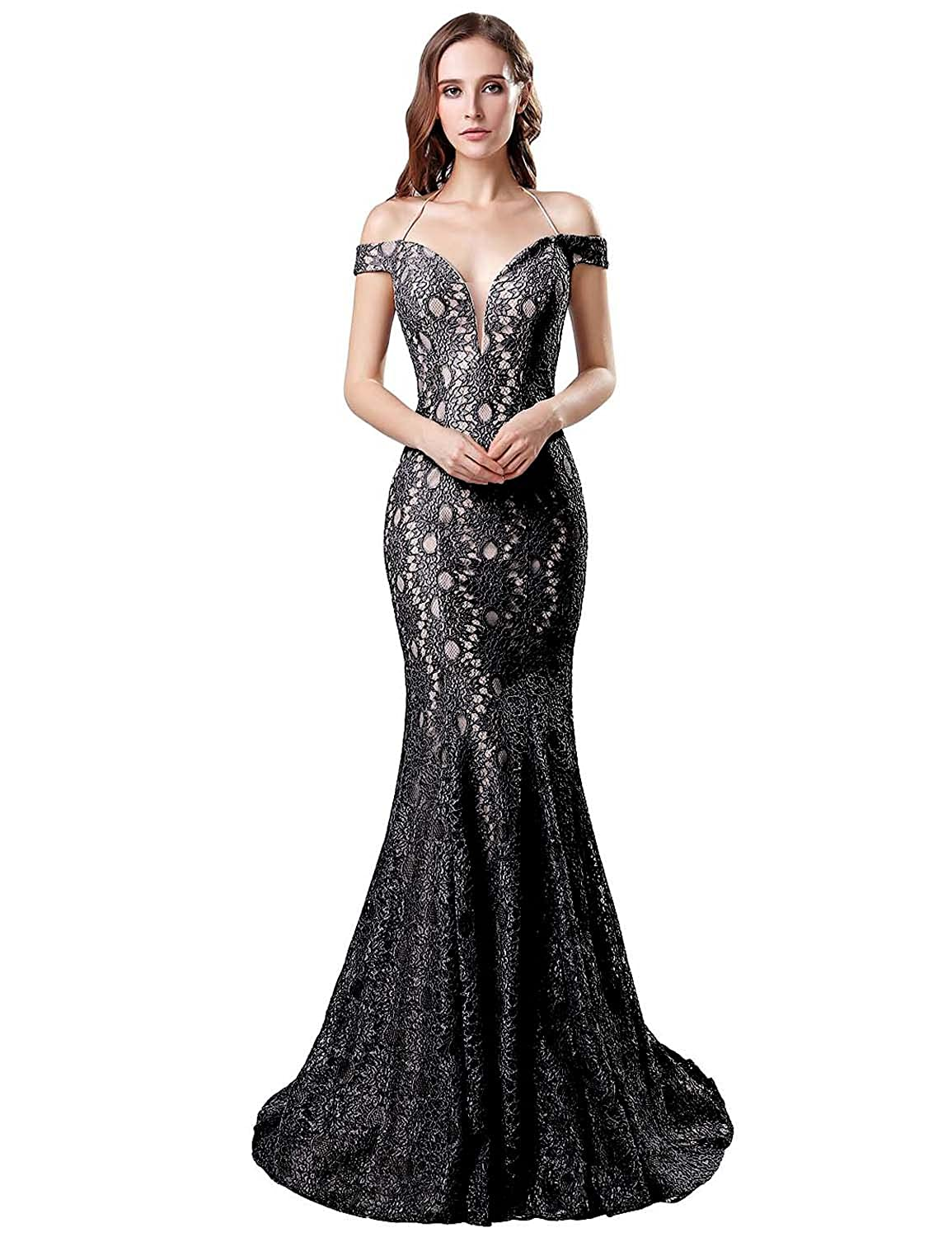 5681ff121d96 Belle House Lace Off The Shoulder Formal Evening Dresses Sexy Mermaid Prom  Dresses 2019 Long for Women at Amazon Women's Clothing store: