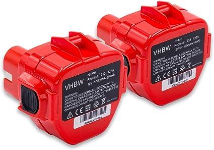vhbw 2x batería compatible con Uponor UP 75 herramientas eléctricas (1500mAh NiMH 12V)