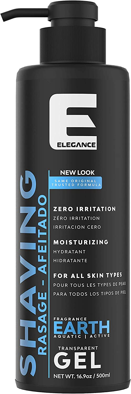 Élégance Gel de afeitar transparente - Rápido, suave y limpio para hombres, fragancia Tierra - 500 ml