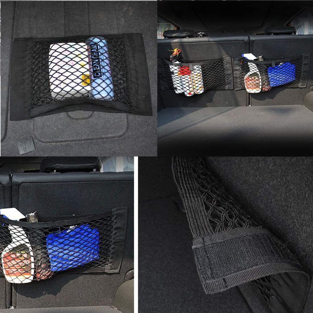 2 Pieces Universal Net Bag with Velcro Car Seat Trunk Net Trunk Net Organizer for Universal Car//SUV Trunk Luggage net made of nylon Car Trunk Mesh Bag