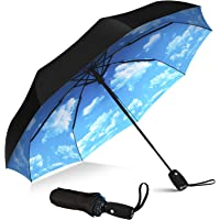 Repel Umbrella Windproof Travel Umbrella with Teflon Coating (Blue Sky)