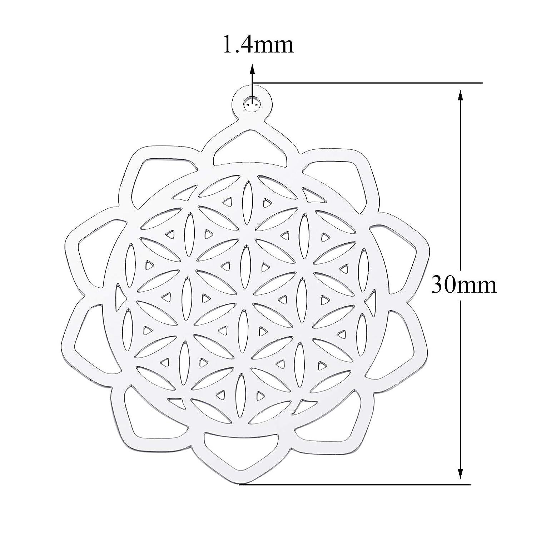 in acciaio INOX placcato platino 3 x 2,6 cm 30 ciondoli a forma di fiore della vita Haisiluo