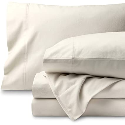 Bare Home Flannel Sheet Set 100% Cotton, Velvety Soft Heavyweight - Double Brushed Flannel - Deep Pocket (Queen, Ivory) best queen-sized flannel sheets