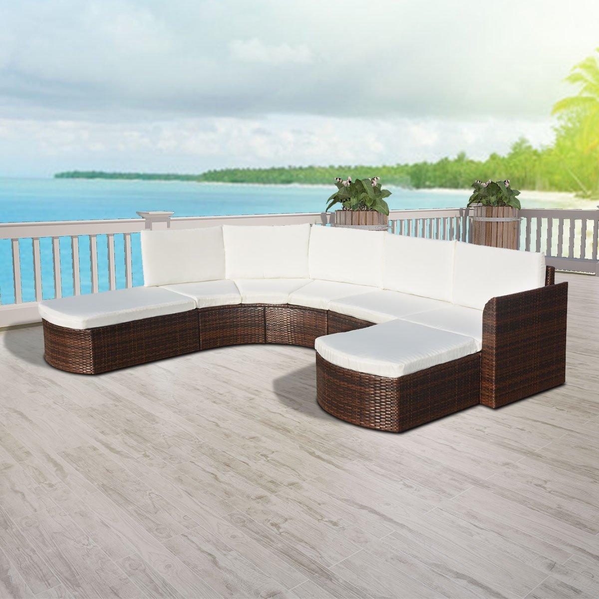 vidaXL 16tlg. Sofa Set Poly Rattan Sitzgruppe Lounge Gartenmöbel Gartengarnitur Braun