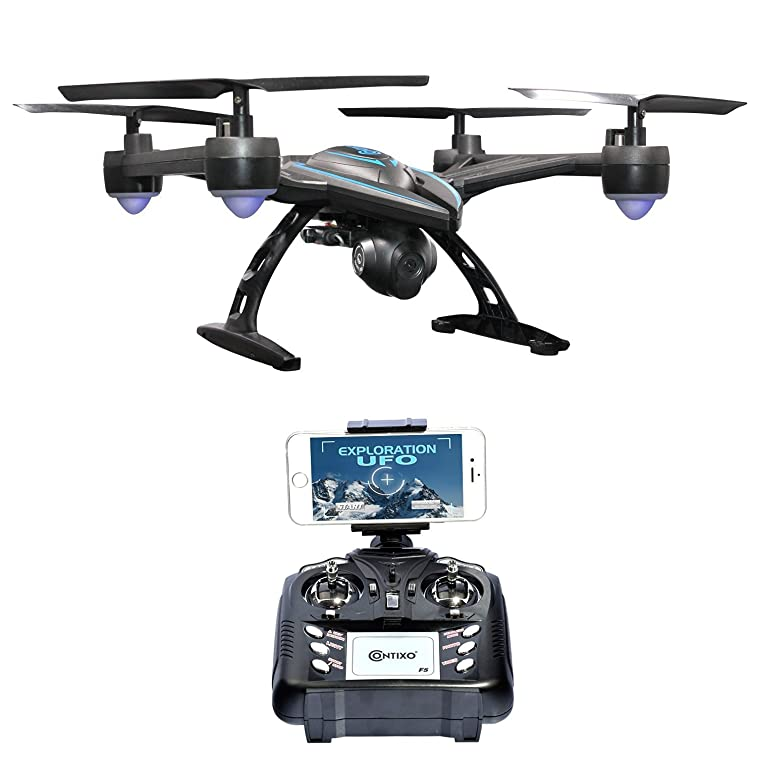 HOLIDAY SPECIAL! Contixo F5 Quadcopter Drone 720P WiFi Live FPV HD Video Camera Altitude Hold Auto Return 6-Axis Gyro 360 Stunts Easy to Fly for Expert Pilots & Beginners - Best Gift For Christmas