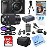Sony Alpha a6000 24.3MP Interchangeable Lens Camera Bundle with Compact Deluxe Gadget Bag and 16-50mm Power Zoom Lens (19 Items)