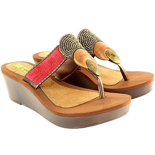 5407a2dfb0d WOMENS GRENDA BANGLES FLIP FLOP WEDGES SANDALS LADIES TOE POST SHOES UK  3-8  Amazon.co.uk  Shoes   Bags
