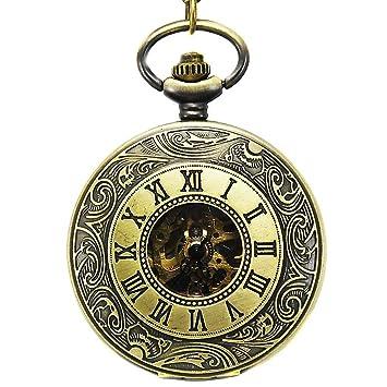 reloj de bolsillo Hollow Open Face Men Números Romanos Antiguos Cadena Automático/Mano Viento Mecánico (Bronce): Amazon.es: Hogar