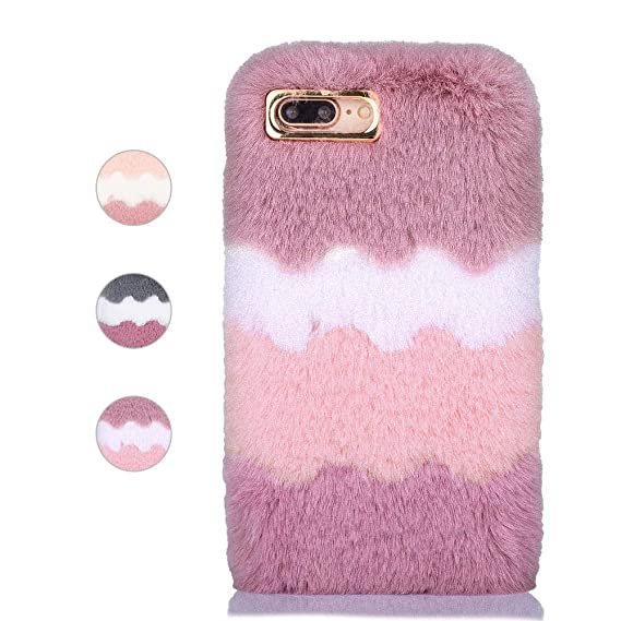 separation shoes 57a39 bf892 Amazon.com: for iPhone 7 iPhone 8 Furry Case, L-FADNUT Fashion ...