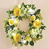 "Lighted 17"" Dia Yellow Flowers Sunny Roses Daisy Hydrangea Wreath Decor Spring Accent Decoration"