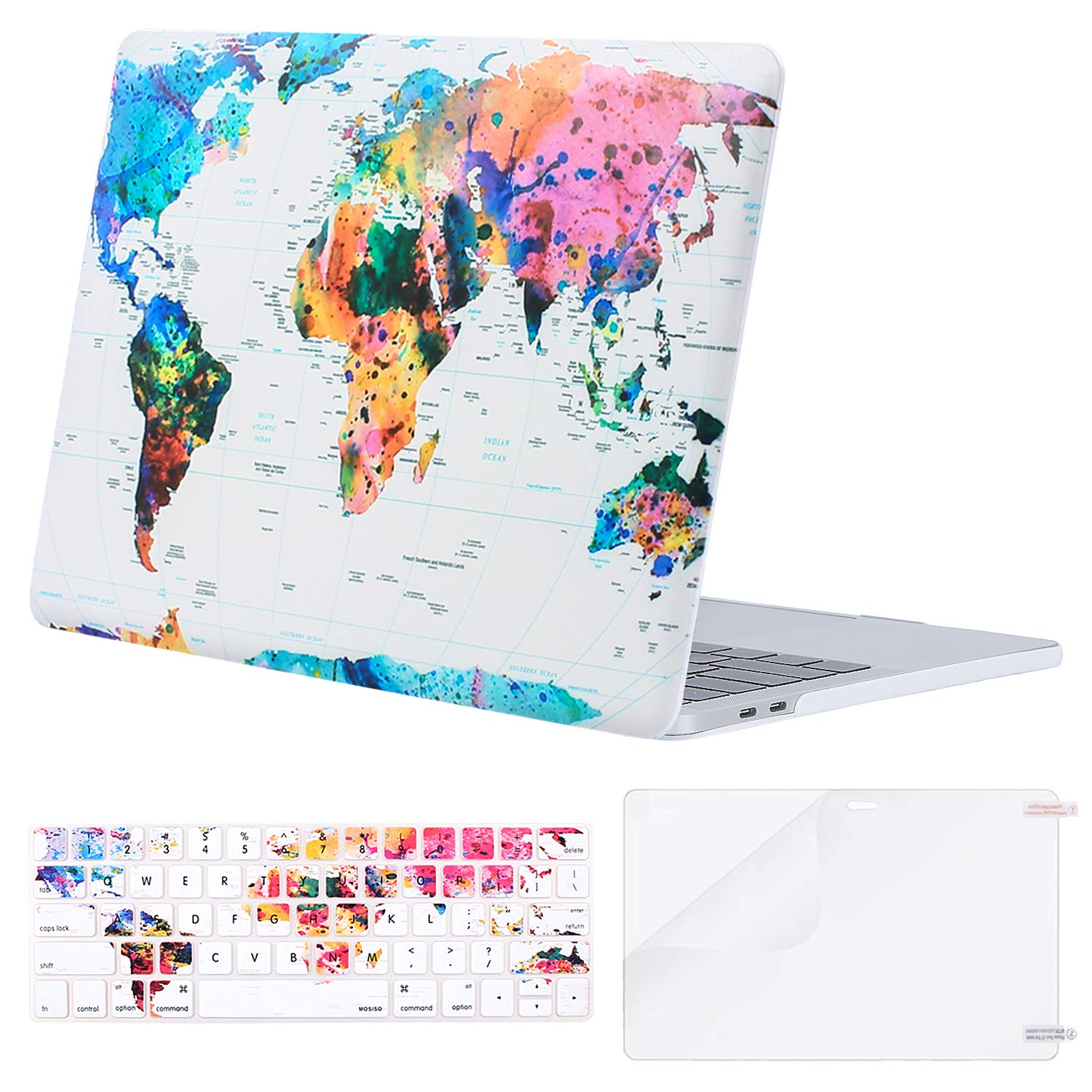 MOSISO MacBook Pro 13 Case 2018 2017 2016 Release A1989/A1706/A1708 w/ & w/o Touch Bar,Plastic Pattern Hard Case & Keyboard Cover & Screen Protector Compatible Newest Mac Pro 13 in,World Map