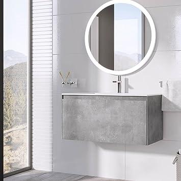 newest 3a1a0 eb5cd The Bath People Orbit Grey Concrete Bathroom Wall Hung Vanity Unit White  Resin Basin 90cm