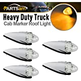 Partsam 5x Clear Lens Torpedo Clearance Roof Running Top 17 LED Amber Lights For Heavy Duty Trucks Kenworth Peterbilt Freightliner Mack