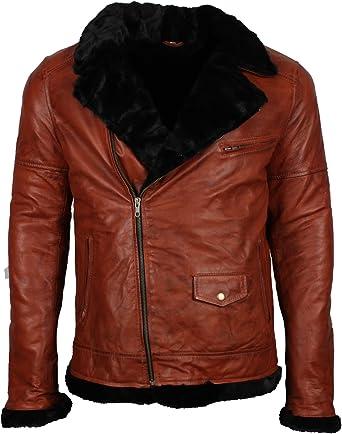 LeatherVendor Mens Brown Distressed Retro Biker Leather Jacket