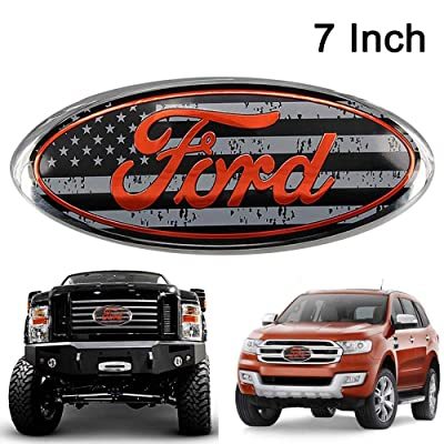 Poiuy Black & Red for Front Emblem,For FORD 7 Inch Front Grille Tailgate Emblem, 3D Oval 3M Double Side Adhesive Tape Sticker Badge for Ford Escape Excursion Expedition Freestyle F-150 F-250 F350: Automotive