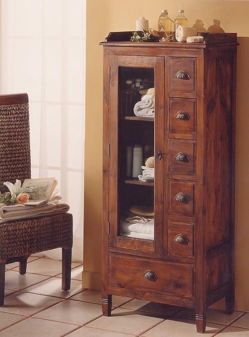 MaisonOutlet Mobile vanity in Teak massello, stile etnico coloniale ...