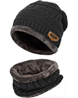 Kata Beanie Hat Scarf Set Thick Knit Hat Warm Fleece Lined Scarf Warm Winter Hat For Men & Women