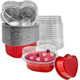 Valentine Aluminum Foil Cake Pan Heart Shaped Cupcake Cup with Lids 100 ml/ 3.4 ounces Disposable Mini Cupcake Cup Flan Bakin