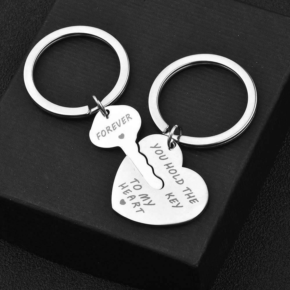 Lovers Key Chain Set, Iuhan Romantic Couple Keychain Keyring Keyfob Valentine's Day Lover Gift Heart Key Set (A) by Iuhan  (Image #3)